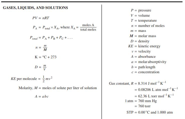 ap化学考试的公式表整理