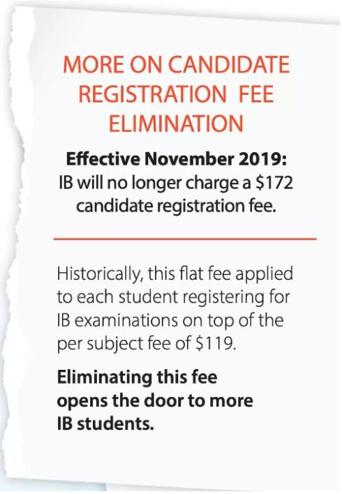 IB宣布从2019年11月起取消考生注册费