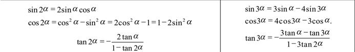 Alevel数学三角函数公式表2