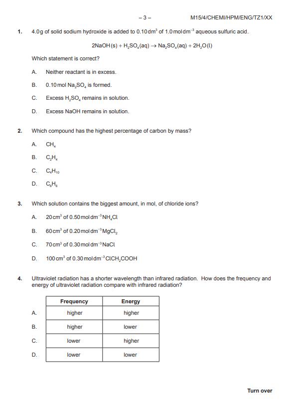 IB化学HL真题及答案和讲解-试卷Paper 1
