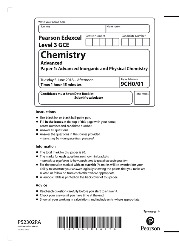 ALEVEL化学真题及答案和讲解-试卷Paper 1