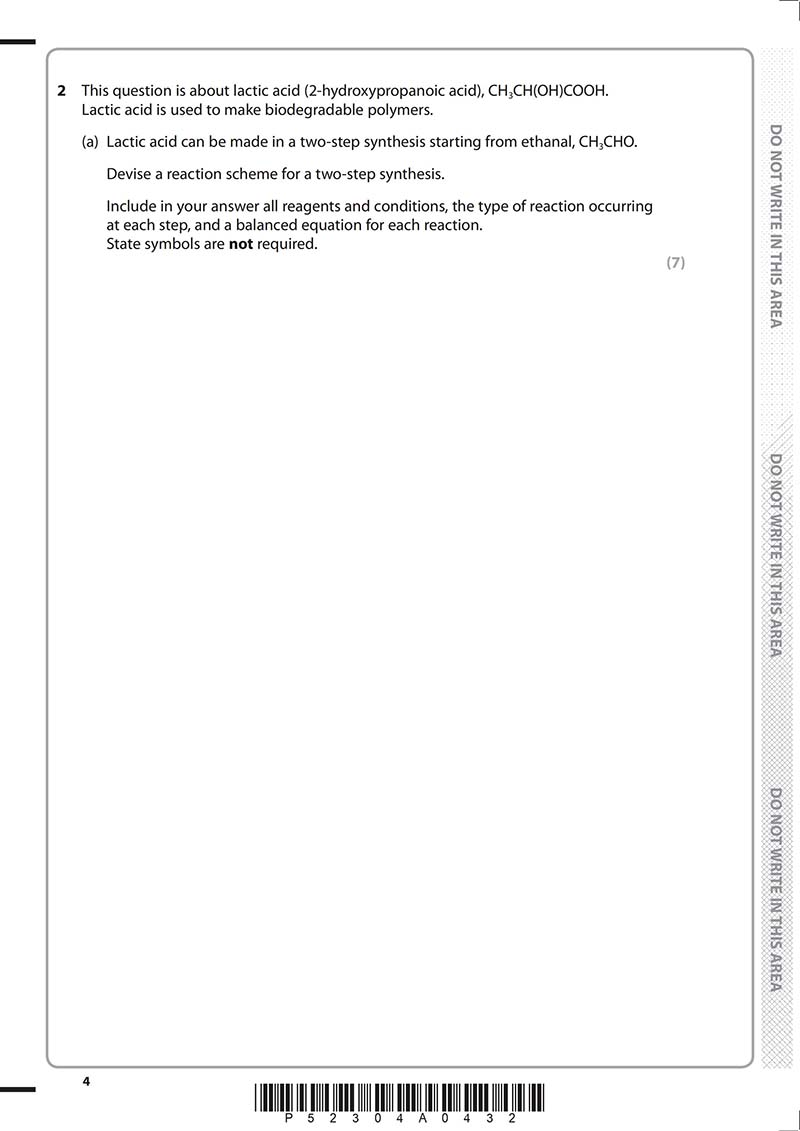 ALEVEL化学真题及答案和讲解-试卷Paper 3