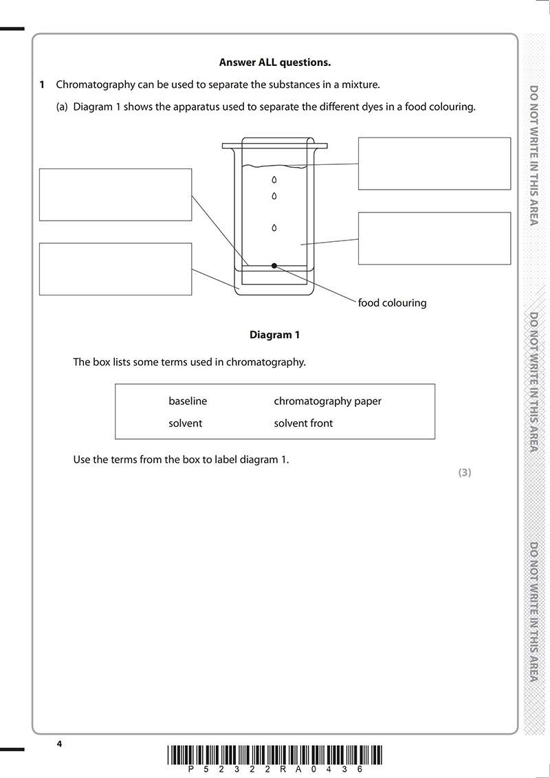 GCSE化学真题及答案和讲解-试卷Paper 1