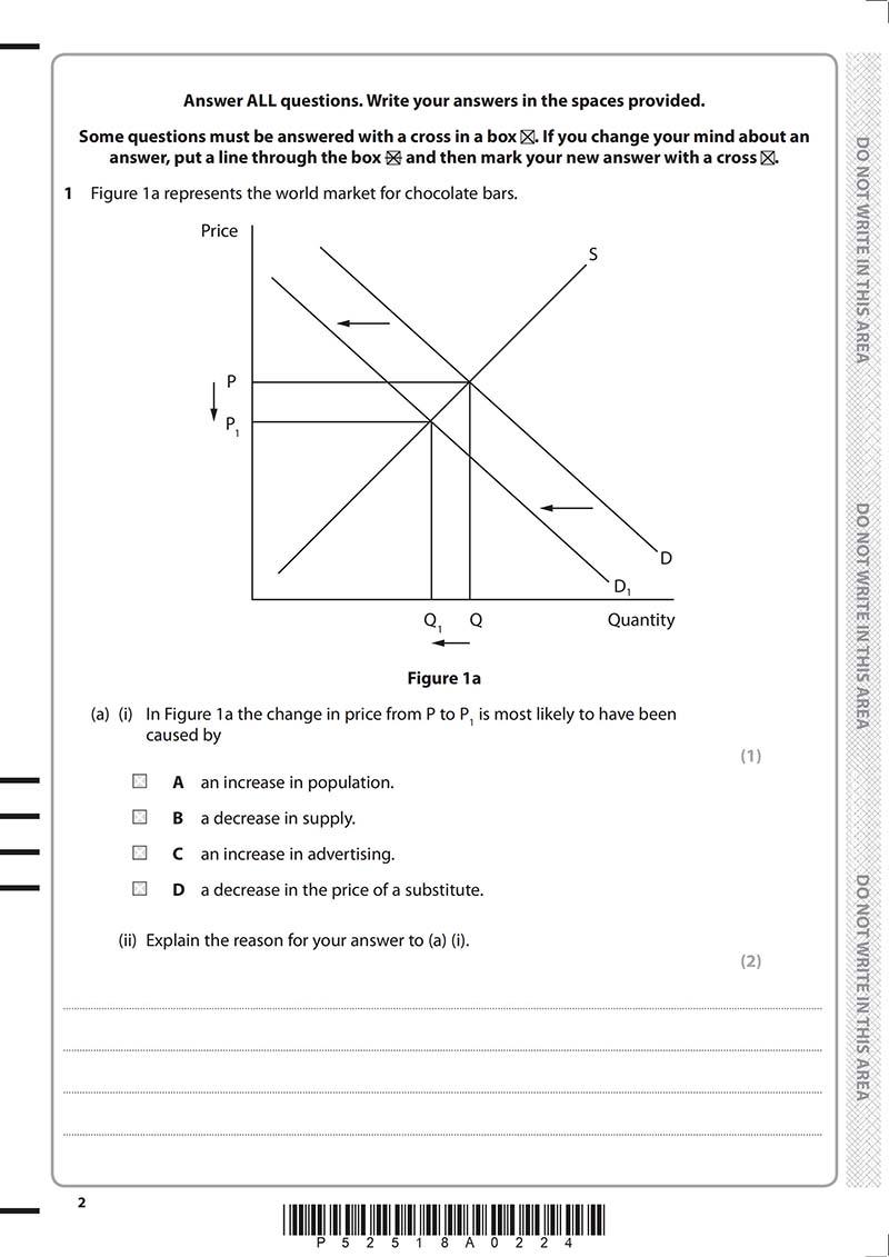 GCSE经济学真题及答案和讲解-试卷Paper 1