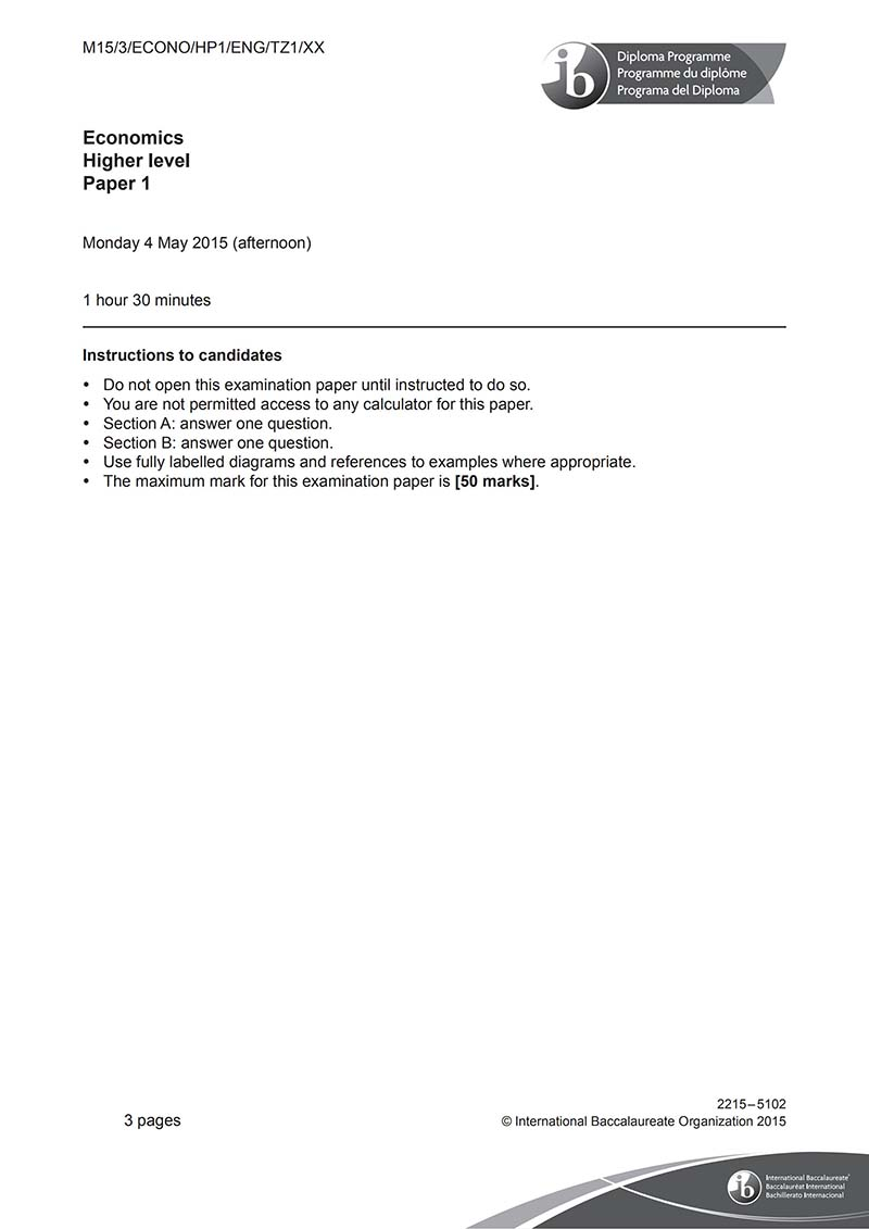 IB经济HL真题及答案和讲解-试卷Paper 1
