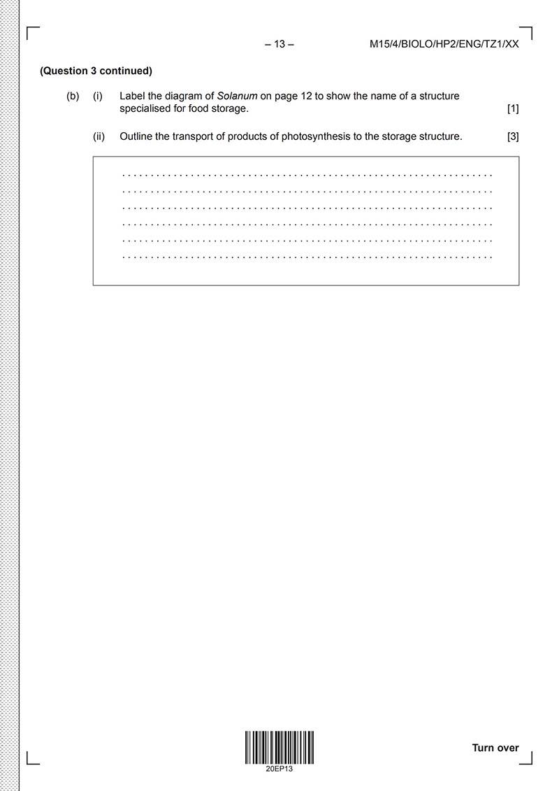 IB生物HL真题及答案和讲解-试卷Paper 2