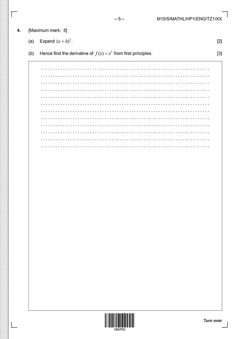 IB数学HL真题及答案和讲解-试卷Paper 1